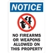 NO FIREARMS OR WEAPONS ALLOWED ON THIS PROPERTY